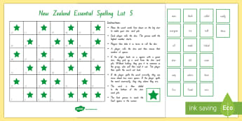 New Zealand Essential Spelling List 5 Board Game - Literacy, Spelling, List 5, Essential Spelling, new zealand, nz