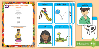 Phase 1 Phonics: Voice Sounds Sensory Bin and Resource Pack - speech development, speaking, letters and sounds, speech and language,