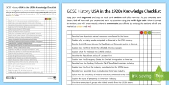 America in the 1920s Knowledge Checklist Activity Sheet - revision, assessment for learning, independence, worksheet, AFL, GCSE