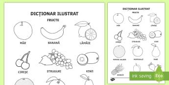 Fructe Fișă de colorat Cuvinte ilustrate - viață sănătoasă, alimentație sănătoasă, fructe și legume, alimente, roadele pământului,R