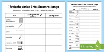 Tóraíocht Taisce i Mo Sheomra Ranga - Ar ais ar scoil, fiosrúcháin, seomra Ranga, Back to School, aimsigh, worksheet