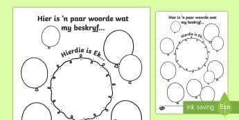 Woorde wat my beskryf skrifraam - Woorde wat my beskryf skrifraam, skrifraam, skryf, werk, klas, oorgang, klaswerk, teken.