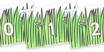 Numbers 0-100 on Wavy Grass - 0-100, foundation stage numeracy, Number recognition, Number flashcards, counting, number frieze, Display numbers, number posters