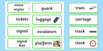 Post Office Word Labels - Word labels, Word Card, flashcard, flashcards, role play, train, post office, station, tickets, platform, trains, waiting room, timetable, luggage, whistle