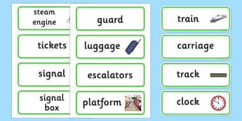 Train Station Vocabulary Labels - ESL Transport Resources