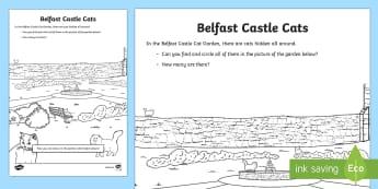 World Around Us EYFS/KS1 Northern Ireland Counting Activity Sheet - World Around Us, northern ireland, Belfast castle, castle cats, cat garden, colouring,