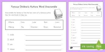 Famous Children's Authors Word Unscramble - World Book Day, Picture Books, Famous Authors, Famous Children's Authors, Children's Literature