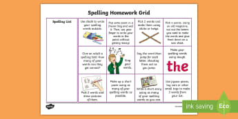 Spelling CfE Homework Grid - Spelling, Homework, Active Learning, Homework Grid, Home School Link, Sounding out, Tallying, Tools