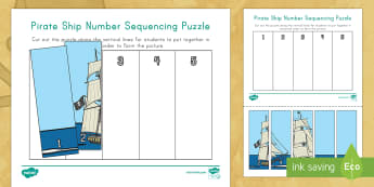 Pirate Ship 1-5 Number Sequencing Puzzle - Pre-K math, Kindergarten math, number sequencing, number order, pirates, pirate, pirate ship, pirate