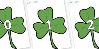 Numbers 0-100 on Clovers - 0-100, foundation stage numeracy, Number recognition, Number flashcards, counting, number frieze, Display numbers, number posters
