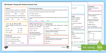 CfE Second Level: Number, Money and Measure Maths Mat - Numeracy Benchmarks, 2nd level Maths, Reference Mat, Maths Assessments, Self assessment Maths,Scotti