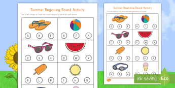 Summer Words Beginning Sounds Activity Sheet - Summer, summer season, first day of summer, summer vacation, Worksheet, summertime, beginning sounds