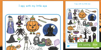 Halloween I Spy With My Little Eye Activity - Halloween, I spy, matching, seek and find, visual, game