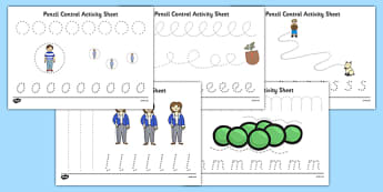 Oliver's Vegetables Pencil Control Path Sheets - motor skills