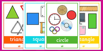 2D Shape Posters with Everyday Examples - In the environment,  Shape poster, Shape flashcards, Shape recognition, Shapes in the environment, numeracy,geometry,shapes,2d,everyday objects,posters,displays