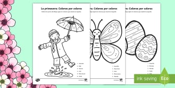 Spring Colour by Number Spanish - Spring, KS2, Spanish, MFL, colour, number