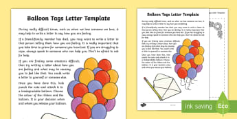 Letter Template for Balloon Tags Activity Sheet - transition, bereavement, grief, emotions, young people, change, loss, friendship, worksheet