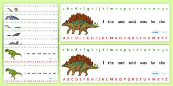 Realistic Dinosaurs Alphabet Strips - dinosaurs, alphabet