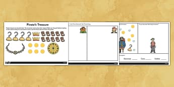 Pirates Finding Half Worksheet - pirate, worksheets, fractions