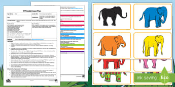 EYFS Elmer's Day Listening Game Adult Input Plan and Resource Pack - EYFS, Early Years planning, Elmer, David McKee, colour, elephants, pattern, listening and attention,