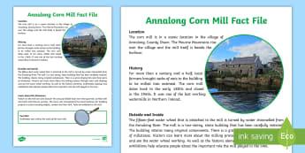 Northern Ireland Annalong Cornmill Fact File - place, history, grain, farming, granite, Mourne