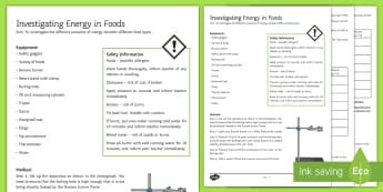 Energy in Foods Investigation Instruction Sheet Print-Out - Investigation Help Sheet, science practical, method, instructions, food, energy, calories, joules, e