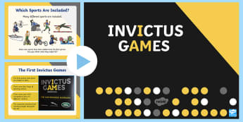 Whole School Invictus Games PowerPoint - disability, armed forces, Prince Harry, unconquered, international