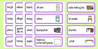 Karty w słownictwem Sala lekcyjna po polsku - meble, klasa
