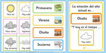 Weather and Season Day Calendar Spanish - spanish, season, weather, calendar, spring, summer, autumn, winter, rainy, sunny, cloudy, calendar