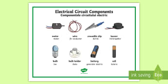Year 4 Circuit Components Word Mat English/Romanian - eal, science, english-romanian, electricity, electric. vocabulary, t2-s-458-year-4-circuit-component