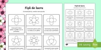 Fracții și flori Fișă de lucru - Spring, primăvară, primavara, flori, floare, fracții, fractii, petale, colorare, o jumătate, o d