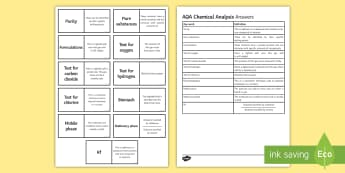 AQA Chemical Analysis Loop Cards - purity, formulations, chromatography, mobile phase, stationary phase