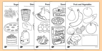 Healthy Eating Colouring Sheets - healthy eating, food groups, healthy menu