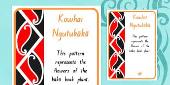 Kowhai Ngutukaka Pattern A4 Display Poster