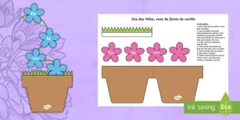 Dia das Mães, vaso de flores de cartão - dia da mae, atividade, trabalhos manuais, fichas de colorir, paginas de colorir, recursos em portugu