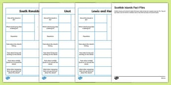 Scottish Islands Fact File Activity Sheets-Scottish, worksheet