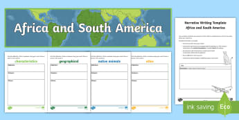 Africa and South America Narrative Writing Lesson Pack - Year 4, ACHASSK087, Australian Curriculum, Geography, language, Vocabulary, research, lesson, spelli