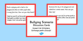 How Can You Help? Scenario Discussion Cards Romanian Translation - romanian, bullying, scenario, discussion, cards