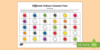 Different Colours Four in a Row Game Spanish - Spanish, Vocabulary, KS2, colours, different, connect, four, game, revision,Scottish