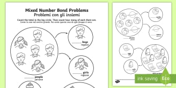 Mixed Number Bond Problems Activity Sheet English/Italian - Mixed Number Bond Problems Worksheet - number bonds, numeracy, number bondd, numracy, numberbonds, n