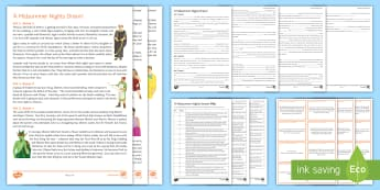 Secondary English A Midsummer Night's Dream Resource Pack - A Midsummer Night's Dream, shakespeare, drama, pre 1914 drama, ks3, literature