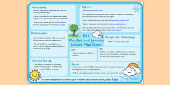 Weather and Seasons Lesson Plan Ideas KS1 - weather and seasons, weather and seasons lesson plan, weather and seasons lesson ideas, lesson plan, MPT
