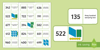 3 Digit Place Value Dominos - place value, dominoes, represent, representation, compare, order, equal, partition, partitioning, ex