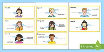 Caracteristicile emoțiilor Cartonașe - dezvoltare socială, dezvoltare personală,inteligență emoțională, jocuri cu emoții, activită