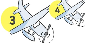 Numbers 0-20 on Aeroplanes - Planes, Foundation Numeracy, Number recognition, Number flashcards, Aeroplane display