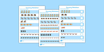 Nocturnal Animals Counting Worksheet - nocturnal, animals, counting, worksheet