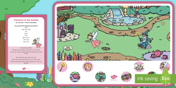 Treasures in the Garden Can You Find...? Poster and Prompt Card Pack - Garden story, mermaid, pirate, literacy, twinkl fiction, Astronaut, Holly and Jake