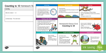 Counting to 10 CfE Homework Grid - Numbers to 10, Early Level homework, FNWS, BNWS, active learning, Scottish