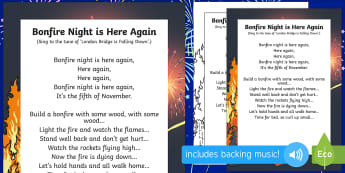 Bonfire Night Is Here Again Rhyme - bonfire night, here, again, rhyme, eyfs, early years