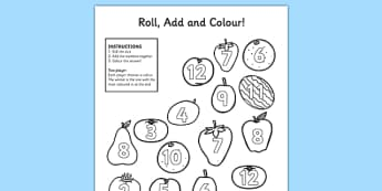 Fruit Roll and Colour Dice Addition Activity - fruit, addition